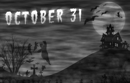 Halloween design : Landscape horror with October 31 message for background.