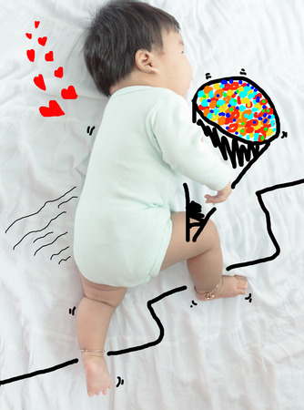 illustration draw on cute baby holding flower for lover for valentine background.