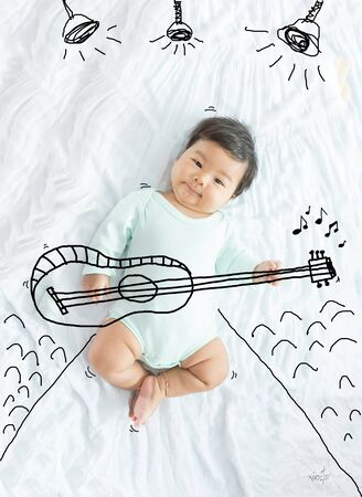 illustration draw on musician baby girl playing a guitar.