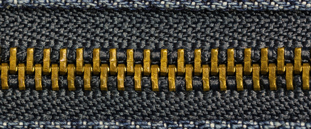 Close up detail metal zipper.