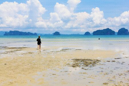 Tourist relaxing on beautiful beach for summer or holiday background. (Watercolor painting)