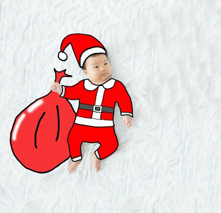 korea girl: illustration draw santa claus on adorable baby girl for christmas background. Stock Photo