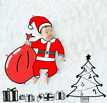 illustration draw santa claus on adorable baby girl for christmas background. Stock Photo