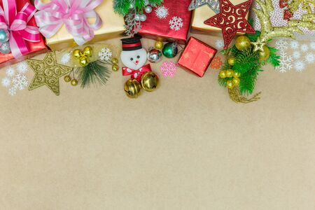 antique table: Christmas ornaments decorations on plank wood for texture and background, Border design. Stock Photo