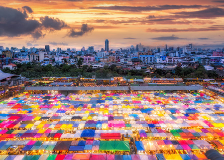 Colorful Train night market in Bangkok is new landmark for shopping at night.