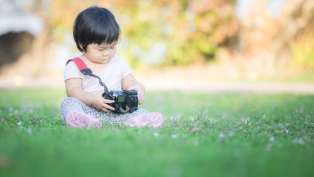 Baby photography on the ground. Suitable use for Child development concept background. Stock Photo