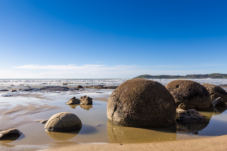 Boulders is wonderful rock on the beach, This is famous landmark in New Zealand. Stock Photo