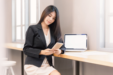Business woman chat or working to customer with computer laptop for success background.