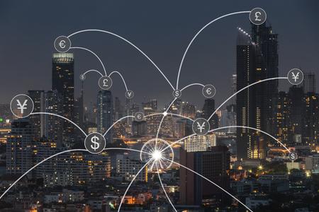 Icône de transfert d'argent sur paysage urbain pour l'arrière-plan du concept bancaire.