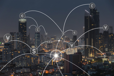 Icono de transferencia de dinero sobre el paisaje urbano para el fondo del concepto de banca.