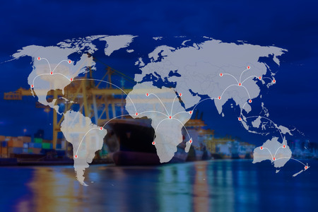 Shipping and world map with blur ship crane and container for export or logistic background, Part of this image furnished by NASA Stock fotó