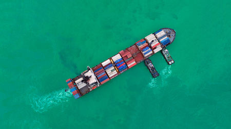 Aerial view cargo ship or shipping container for import export and transportation background. Stock Photo