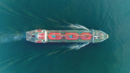 Ship tanker gas LPG top speed on the sea for transportation. 免版税图像