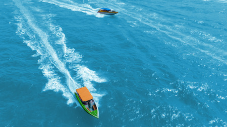 Aerial view Yacht or speed boat on the sea for tourism or transportation.