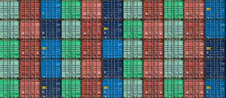 Stack of container pattern in container warehouse or harbor for background.