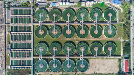 Aerial top view water treatment plant for environment or healthy concept.