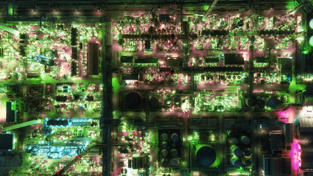 Aerial top view Oil refinery factory at night for energy or gas industry or transportation background. 版權商用圖片