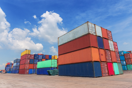 Container in container warehouse with blue sky for logistics import export, shipping or transportation. 版權商用圖片