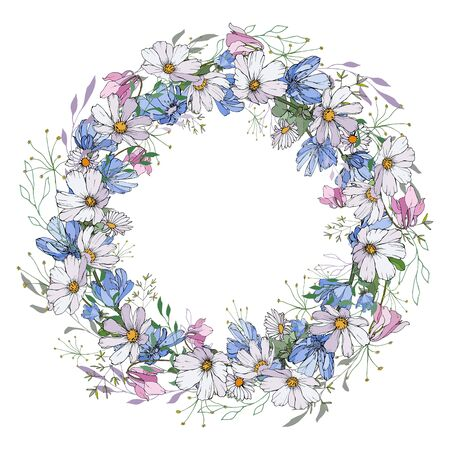 Lush wreath with cute flowers on white background. Round frame of white, blue and pink flowers, green leaves. Place for text. For your design, greeting cards, invitation. Vector stock illustration.
