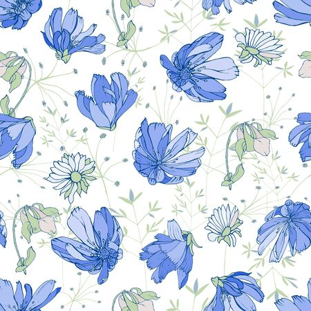 Vector hand drawn floral seamless pattern with blue flowers chicory, chamomiles, herbs, leaves on white background. For your design, textile, wallpapers, print, greeting. Vintage style.