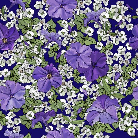 Seamless pattern with violet petunias and green leaves on blue background. Floral pattern for textile, wallpapers, print, web pages, greeting cards. Illustration