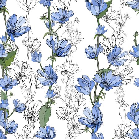 Hand drawn floral seamless pattern with blue Chicory,black outline flowers,branch and green leaves on white background. For your design, textile, wallpapers, print, greeting.Vector stock illustration.