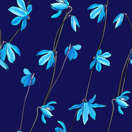 Floral spring seamless pattern with blue flowers on navy blue background. Primrose for the design textiles, clothing, prints, wrapping paper, wallpaper. Vector stock illustration. Illusztráció
