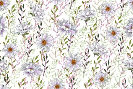 White Floral Seamless Pattern with White Flowers Dahlias and Green Branch on White Background. For Textile, Wallpapers, Print, Greeting. Vector Illustration.