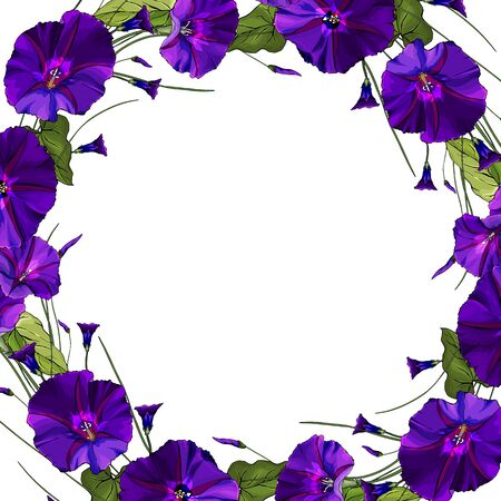 Vector floral frame with flowers violet bindweed and green leaves. Decoration for wedding invitation, fashion, greetings, background for save the dates.
