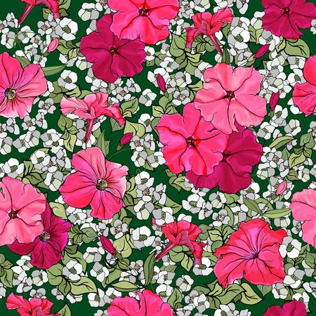Vector seamless pattern with pink petunias and green leaves on green background. Floral illustration for textile, wallpapers, print, greetings, web pages.