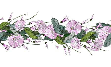 Seamless pattern brush with light pink bindweed and green leaves. Horizontal border for festive design, postcards, posters, wedding invitations. Ilustração
