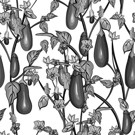 Monochrome seamless pattern with eggplant, leaves, flowers on white background.Vegetable texture with aubergine for kitchen design,textile, print,wallpaper,wrapping paper.