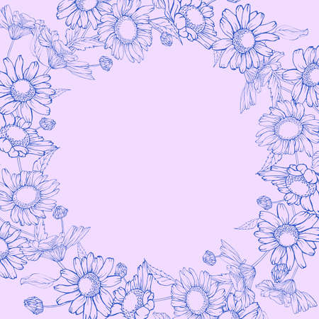 Floral monochrome purple frame with chamomiles and leaves. Wreath of oulline flowers hand drawning. Copy space. Vector stock illustration.