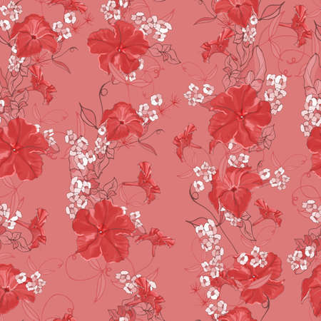 Floral seamless pattern with red petunias and white flowers, leaves on pink background. Hand drawn. For design, textile, print, wallpapers, wrapping paper. Illustration