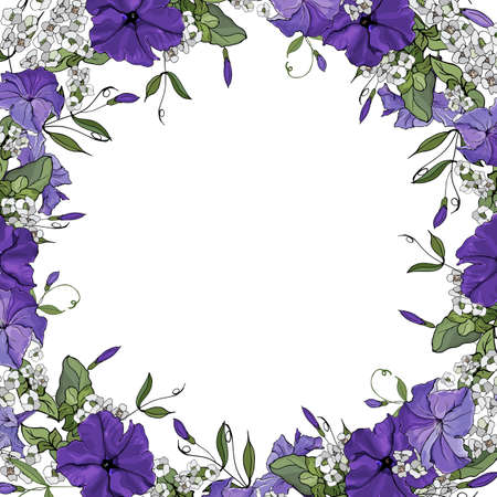 Vector frame with flowers purple petunia. Background for your design, greeting cards, save the dates. Illustration