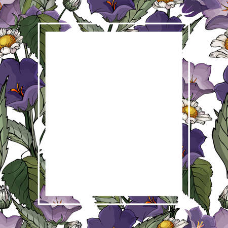 Floral square frame with flowers bells and chamomiles on white background. Suitable for your design, cards, invitations, gifts.