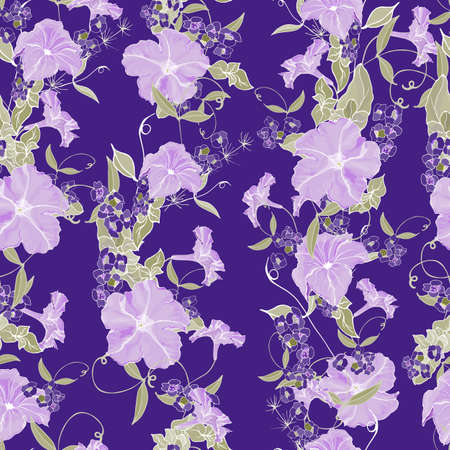 Vector seamless floral pattern with purple petunias and small flowers, leaves on dark violet background. Hand drawn. For design, textile, print, wallpapers, wrapping paper. Stock illustration. Ilustração