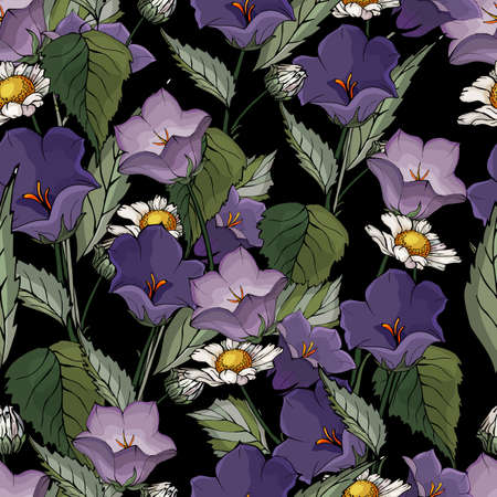 Seamless pattern with flowers blue bells, chamomiles, green leaves on black background. Floral Pattern for Textile Print. Fabric wallpaper print texture.