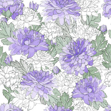 Pastel floral seamless pattern with violet chrysanthemums and green leaves on white background. For textile, wallpapers, print, greeting. Ilustracja