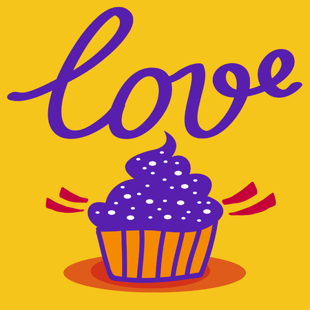 Love on coloured background. Hand drawn design elements. Logo sweets with cream. Dessert. Stock Illustratie