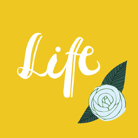 Life with flower on colored background. Hand drawn design elements. Illustration
