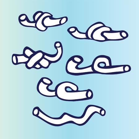 Cartoon spaghetti on colored background. Hand drawn design elements.
