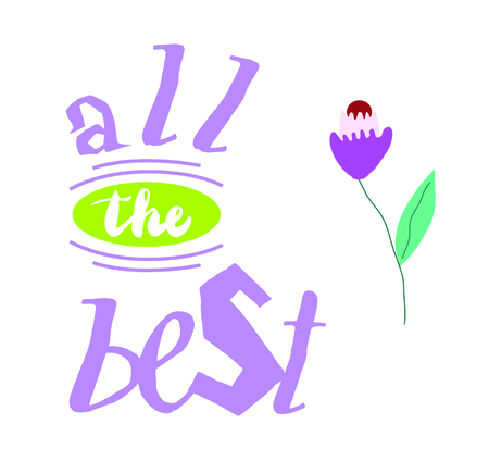 All the best on coloured background. Hand drawn design elements. Logo on posters Stock Illustratie