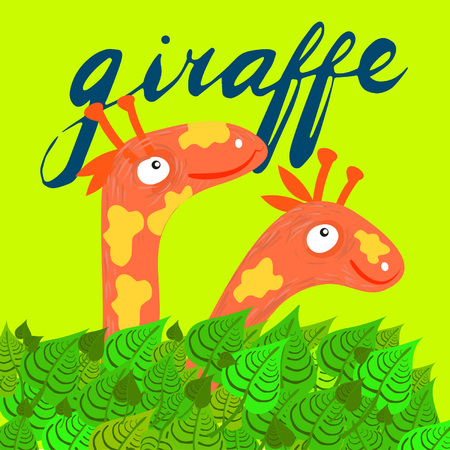 Sign giraffe and animation isolated on background, icon symbol for your web site design, icon, poster. Vector illustration. Illustration