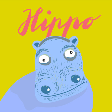 Sign hippo and animation isolated on background, icon symbol for your web site design, icon, poster. Vector illustration. Banque d'images - 107618027