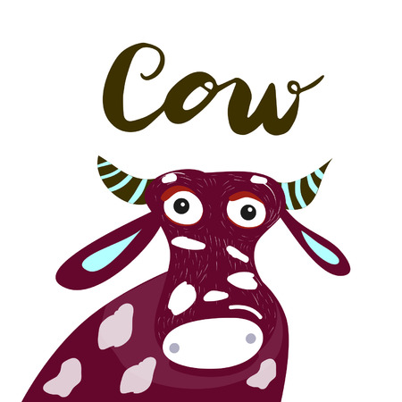 Sign cow and animation isolated on background, icon symbol for your web site design, icon, poster. Vector illustration. Banque d'images - 107618029