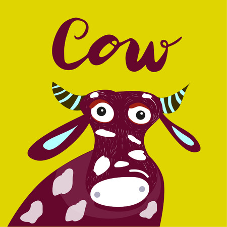 Sign cow and animation isolated on background, icon symbol for your web site design, icon, poster. Vector illustration. Banque d'images - 107618030
