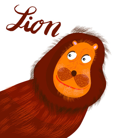 Sign lion and animation isolated on background, icon symbol for your web site design, icon, poster. Vector illustration.