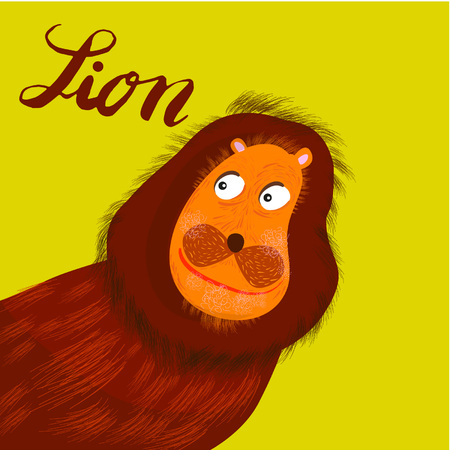 Sign lion and animation isolated on background, icon symbol for your web site design, icon, poster. Vector illustration. Banque d'images - 107618039