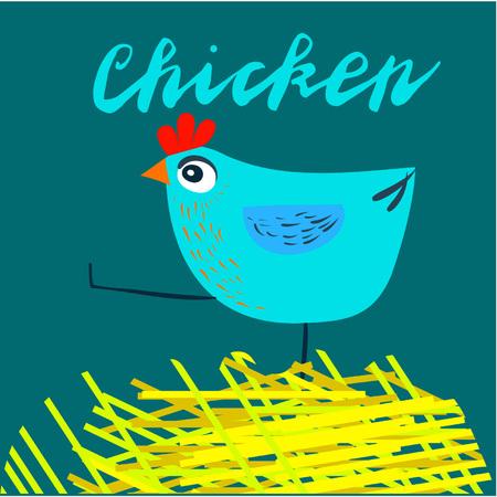 Iscriviti pollo e animazione isolato su sfondo, icona simbolo per il tuo sito web design, icona, poster. Illustrazione vettoriale. Vettoriali